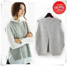 2015-spring-loose-big-yards-female-hedging-sweater-vest-sweater-vest-round-neck-wool-vest-waistcoat