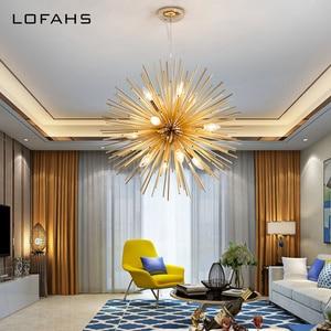 Image 2 - LOFAHS מודרני שגשוג תליון נברשת זהב אלומיניום צינור נברשת תאורה לסלון עסקים אירוע