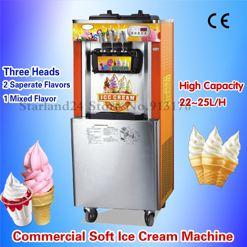 Vertical Soft Serve Ice Cream Machine Ice Cream Maker 3 Flavors for Ice Cream Parlor Leisure Food Snack Street eu popular soft serve ice cream maker machine desk top ice cream machine for sale