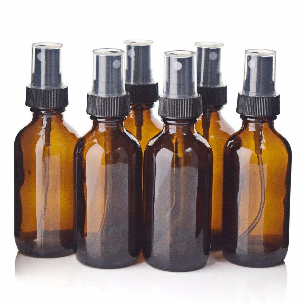 6 pcs 2 Oz 60 ml de Vidro Âmbar Frasco do Pulverizador com Pulverizador Fino Da Névoa para Óleos Essenciais Aromaterapia Perfume Vazio embalagens de cosméticos