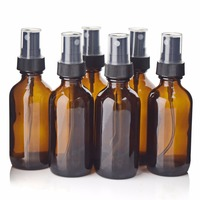6pcs Brand New High Quality 2 OZ 60ml Amber Glass Spray Bottle With Black Fine Mist