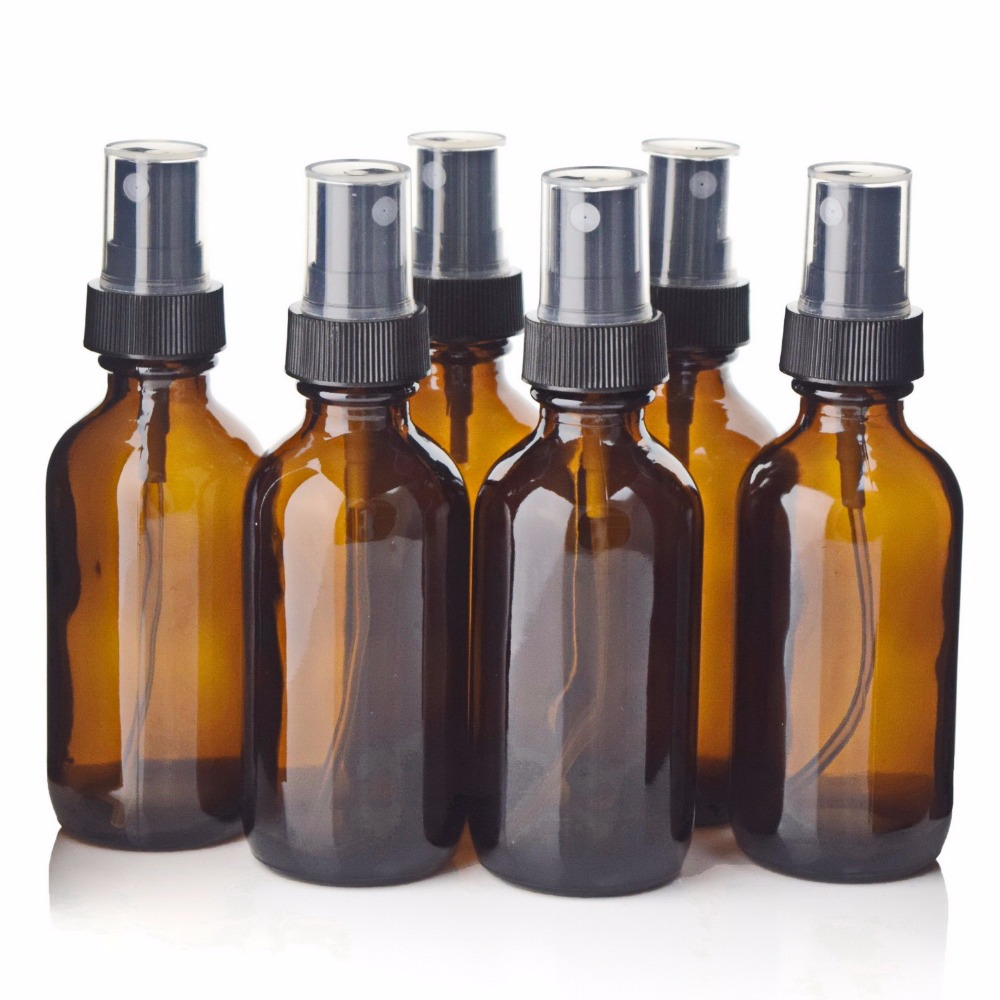 6pcs 2 Oz 60ml Amber Glass Spray Bottle with Fine Mist Sprayer for Essential Oils Aromatherapy Perfume Empty Cosmetic Containers 6pcs 1oz 30ml amber glass spray bottle w black fine mist sprayer refillable essential oil bottles empty cosmetic containers