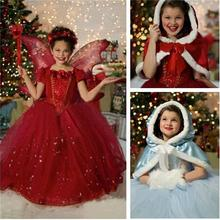 2017 New Winter Girl Dress Children Red Hoodie Princess Dresses Kids Christmas Party Costume for Girl With Cap Dresses for Girls