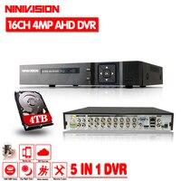 16 канальный AHD DVR 4MP 16CH AHD/CVI/TVI DVR 4 м CCTV видео Регистраторы Hybrid DVR NVR HVR 5 в 1 DVR для наблюдения Системы