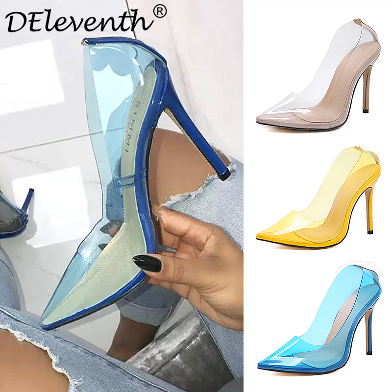 DEleventh Women Pumps 2018 Transparent 12cm High Heels Sexy Pointed Toe Slip on Wedding Party Dress Woman Shoes For Lady Apricot