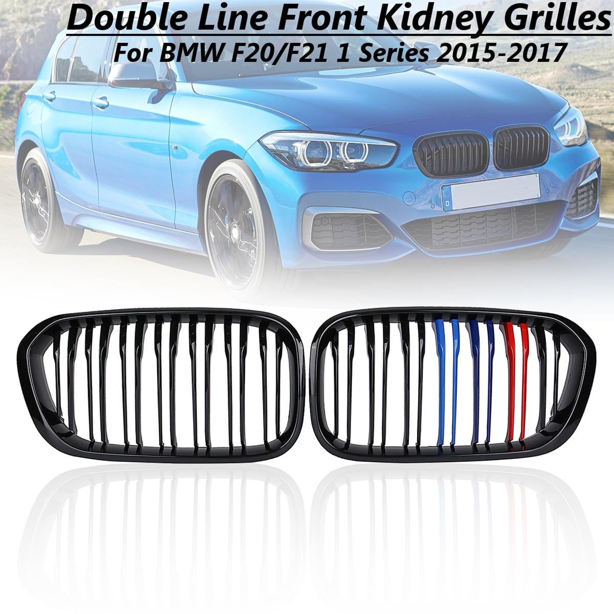 Pare-chocs avant de voiture noir brillant m-couleur pour Modification Grilles de rein style de voiture pour BMW F21 F21 1 2015 2016 2017 2 lattes
