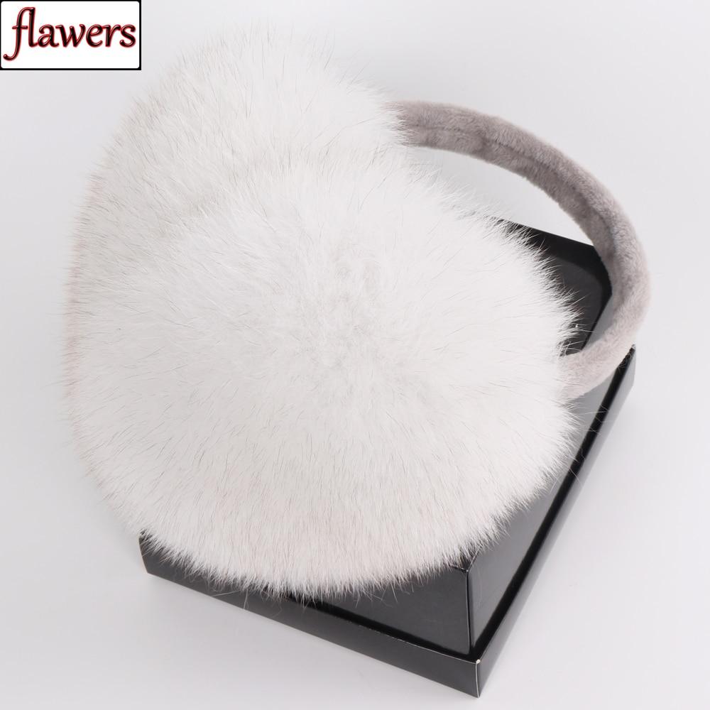 2019 New Fashion Women Fluffy Real Fox Fur Earmuffs Winter Lady Big Pompoms Fox Fur Plush Ear Muff 100% Natural Fox Fur Earlaps
