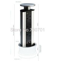 Metal cap Kitchen Worktop,Office Desk Pop Up Pull Up Plug Socket Stainless Steel Metal EU USA UK Standard desktop power socket