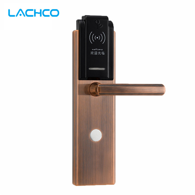 LACHCO  Digital Electronic Card Door Lock Smart for Apartment Hotel Home US Mortise Zinc Alloy Brushed Red Copper L16047RC lachco card hotel lock digital smart electronic rfid card for office apartment hotel room home latch with deadbolt l16058bs