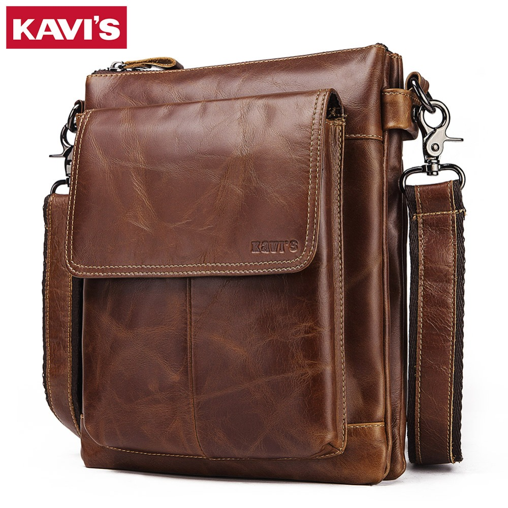 KAVIS 2019 New Cowhide Genuine Leather Messenger Bag Small Handbags Men Shoulder Bags Business Crossbody Male