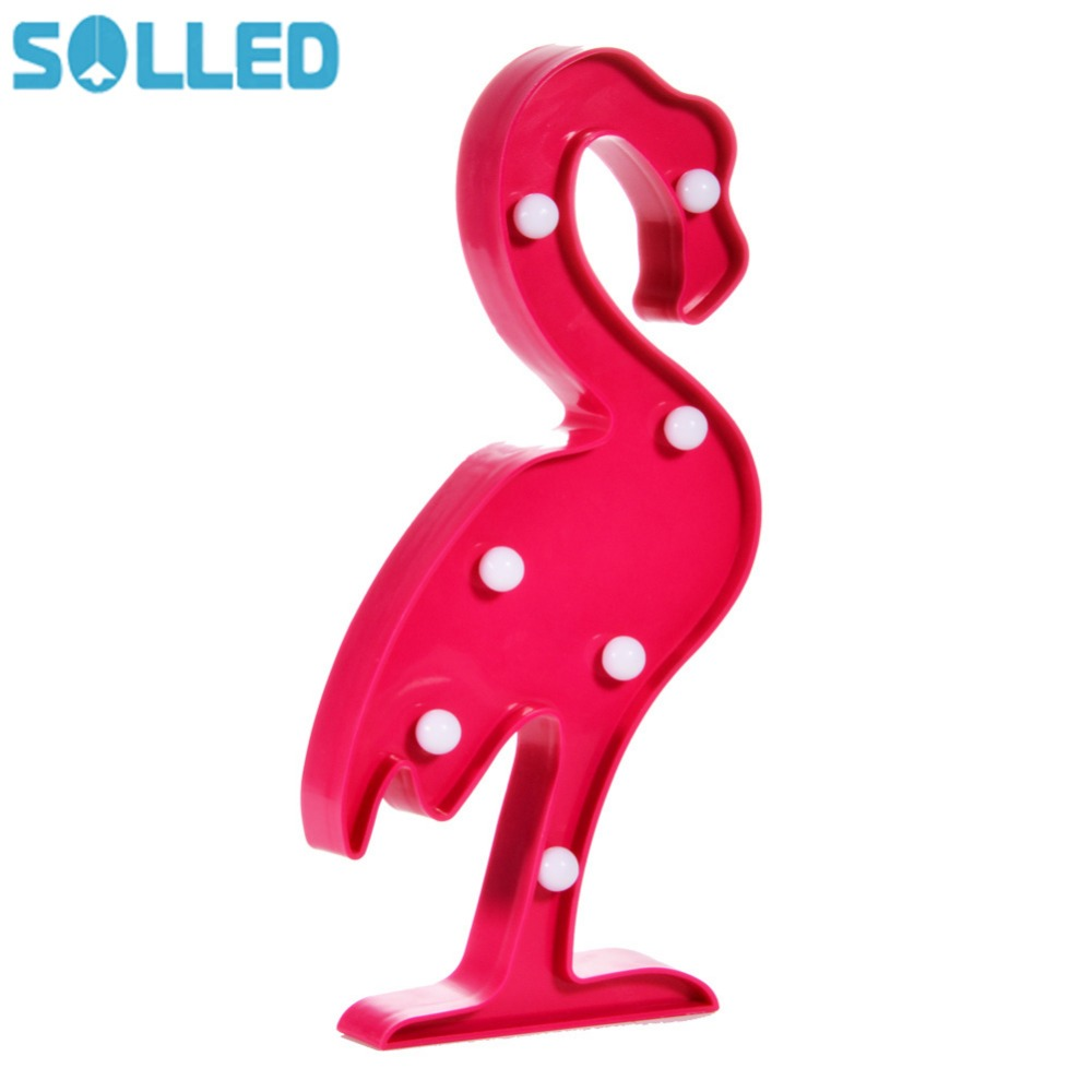 SOLLED 3D Marquee Flamingo Light Plastic Flamingo Light LED Baby Night Light Romantic Lamp Battery Operated ...