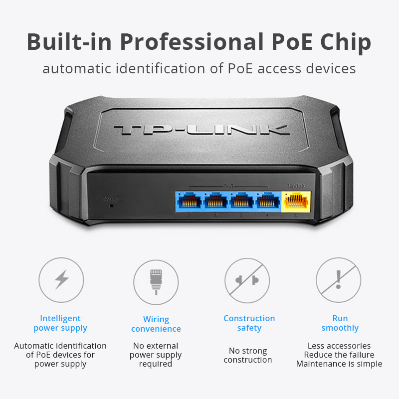 TP-LINK Poe Switch 5port 10/100Mbps With 4 Port Ethernet Network Switch TL-SF1005SP Full-duplex Fast Desktop Plug And Play