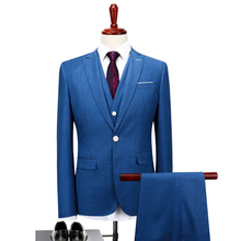 Blue Men's Suits Jackets + Pants + Vest Fashion Business Wedding Banquet Men Coats Blazer Hot Sales Noble Pop Gentleman Clothing