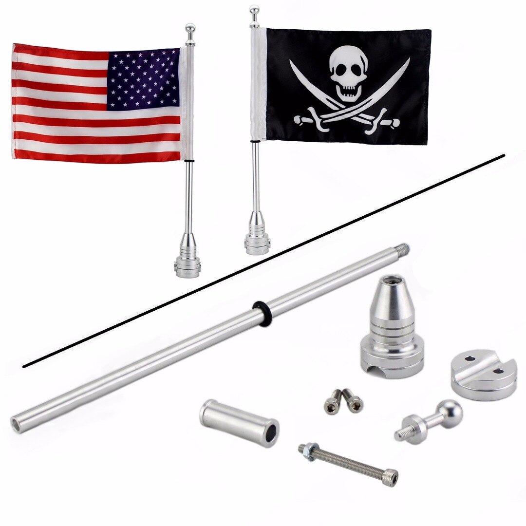 Pour h-arley 2 pièces Moto Bagages de Bâti de Support de Poteau de Drapeau Pirate Crâne + USA Drapeau Touring Road Glide Drapeaux