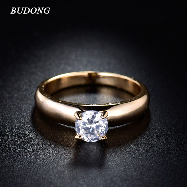 BUDONG Fashion Engagement Rings for Women Gold Color Infinity White Crystal Cubic Zirconia Wedding Band Vintage Jewelry XUR083