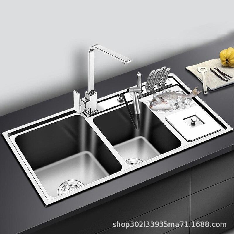 Évier de cuisine en acier inoxydable Double bol épaisseur éviers cuisine au-dessus du comptoir ou éviers Udermount lavabo de légumes