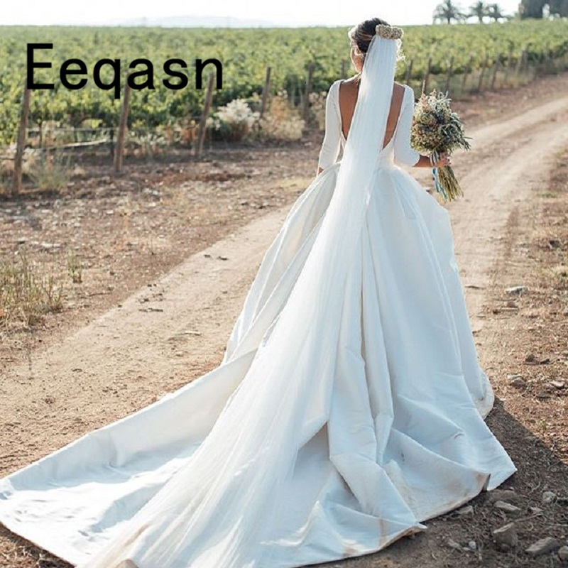 Simple White Wedding Gown: New Country Wedding Dress 2019 Backless Cathedral Train
