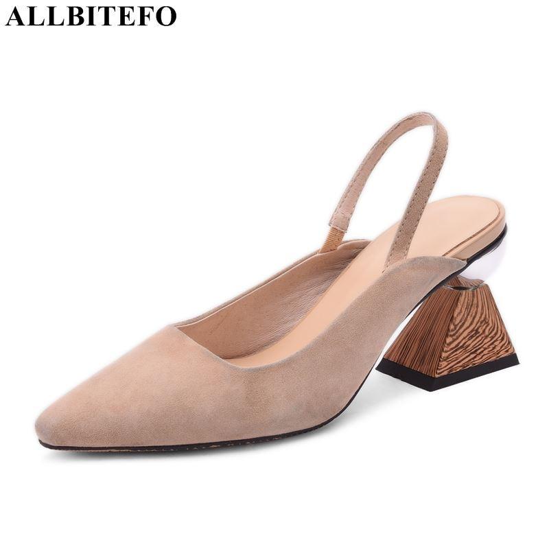 ALLBITEFO 本革ハイヒールの靴のファッションセクシーな女性のサンダルの夏の女の子レディースパーティー結婚式の靴女性のハイヒールの靴  グループ上の 靴 からの ミドルヒール の中 1