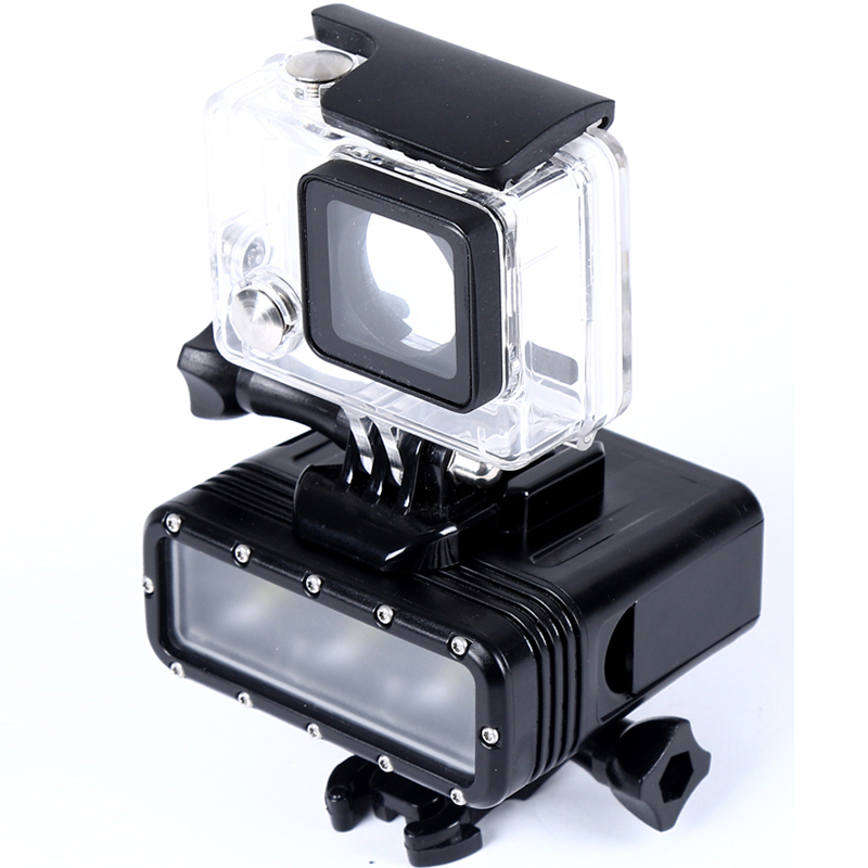 Gopro Waterproof LED Video Light 40M Underwater Dive Diving Battery Adapter Mount For GoPro Camera Hero 4 3 2 1 Xiaomi SJ4000 In Sports Camcorder Cases