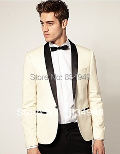 Custom Made To Measure Ivory Tuxedo Jacket Black Lapel Tailored Wedding Suits For Men