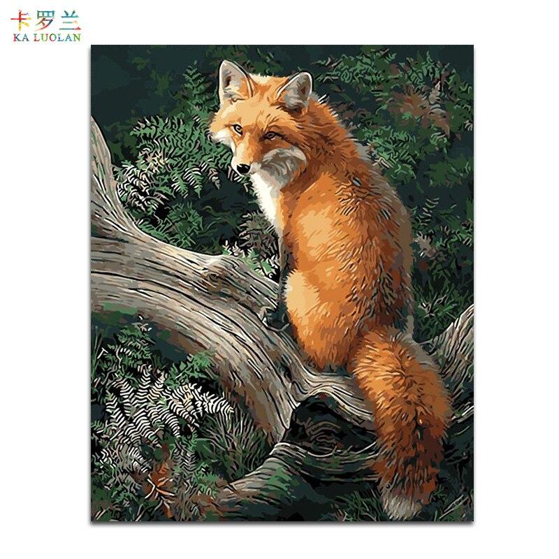 Kein Rahmen Fuchs Tiere DIY Malerei Durch Zahlinstallationssätze Malen Auf leinwand Acryl Färbung Malen Nach Zahlen Für Hauptwanddekor 40X50