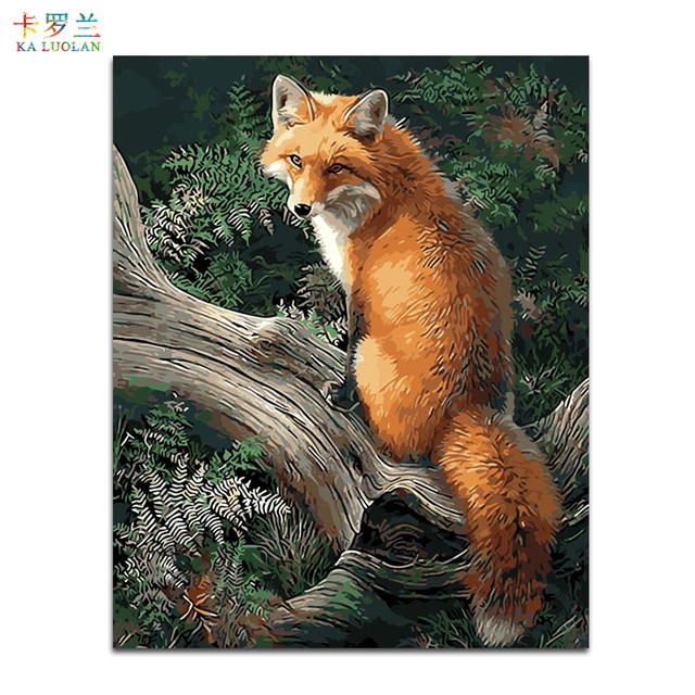 No Frame Fox Animals DIY Painting By Numbers Kits Paint On Canvas ...