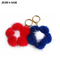 2017 New Arrival Mix Color Real MInk Fur Flower Bag Charm Fur Key Rings With Gold