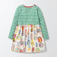 OKlady Kids Dresses For Girls 2017 Autumn New Baby Girls Clothes Grass Flower Clouds Print Horse