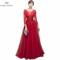 NOBLE WEISS Dark Red Appliques Tulle Long Evening Dresses 2019 Formal Wedding Party Dress robe de soiree Bride Reception gown