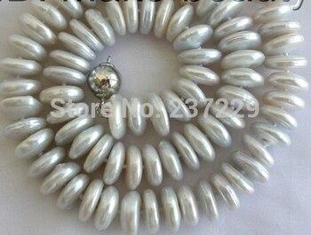 Prezzo Perle D'acqua Dolce | HOT # # Prezzo All'ingrosso> ^^^^ Splendida Grande 13mm Rotondo Bianco Coin D'acqua Dolce Coltivate Collana Di Perle