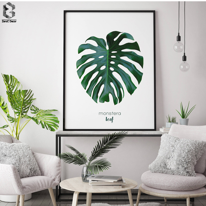 50 Splendid Scandinavian Home Office And Workspace Designs: Nordic Fresh Monstera Posters And Prints Wall Art Canvas