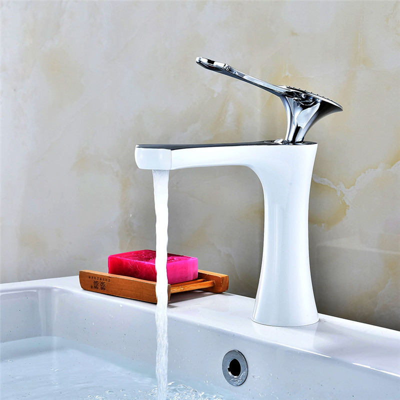 Bathroom Basin faucet Brass Sink Mixer Tap Hot and Cold Faucet Bathroom Crane Single Handle Lavatory White Baking Water TapBathroom Basin faucet Brass Sink Mixer Tap Hot and Cold Faucet Bathroom Crane Single Handle Lavatory White Baking Water Tap