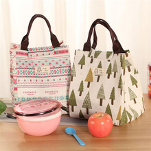 Portable Waterproof Canvas Lunch Bags Polar Bear Pine Storage Bag Insulation Package Picnic for Women Kid Men Adults