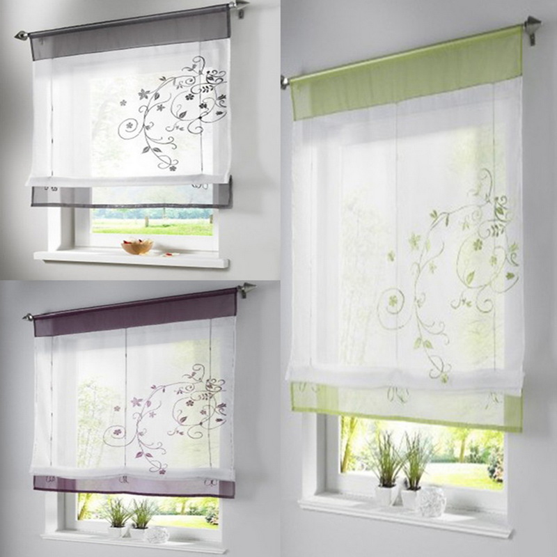 NEW Embroidered Stitching Window Tulle Yarn Kitchen