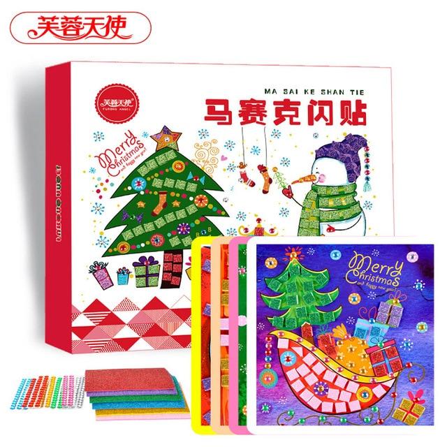Детские Игрушки Наклейки Ноутбук DIY Цвет Карты с Жемчужиной и Мозаики стикер Рождественский Подарок для Детей