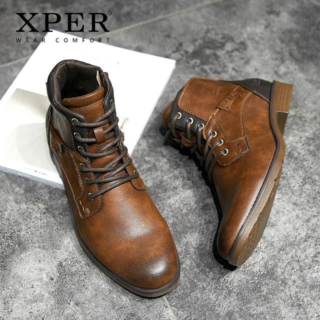 XPER 2019 אביב חדש כניסות אופנה קרסול מגפי גברים שדרוג אופנוע מגפי ללבוש נוחות חורף נעלי צבא שחור # XHY12504LG