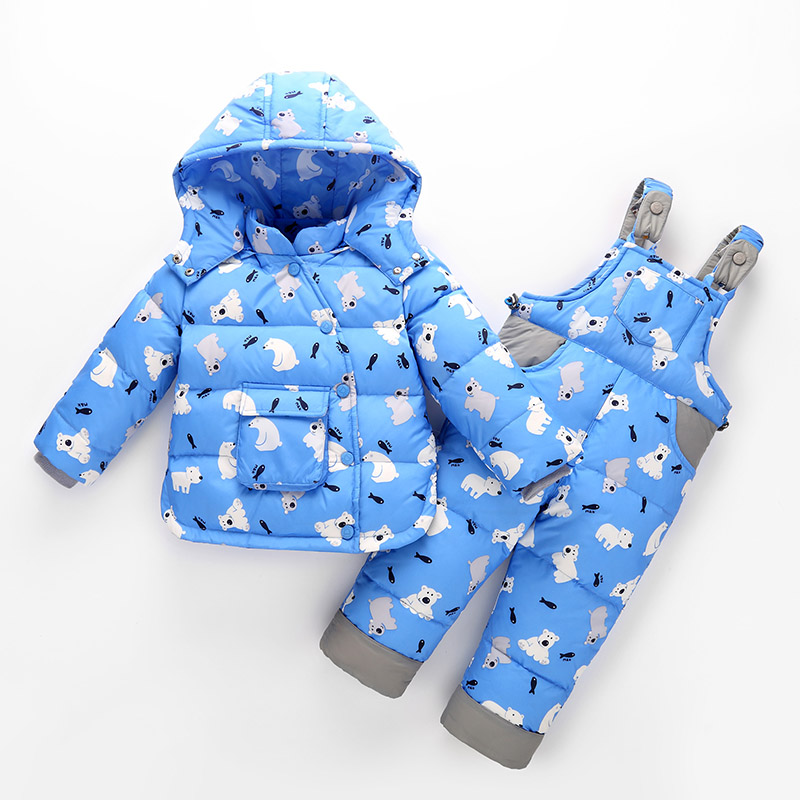 New Arrival Child Winter Down Coat Set Girls Boys Clothing Baby Infant Jacket + Overalls Suit Thickening Down Jacket