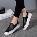 EOFK 2017 Women Flat Platform Shoes Vintage Black Leather Comfortable Causal Slip On Loafers Ladies Shoes for Women Flats