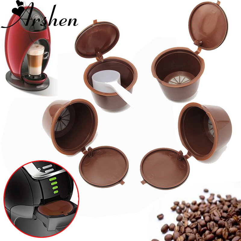 Arshen 4 Pcs/Set Dolce Gusto Coffee Capsule Plsatic Refillable Capsule Reusable 200 Times Compatible With Nescafe Dolce Gusto