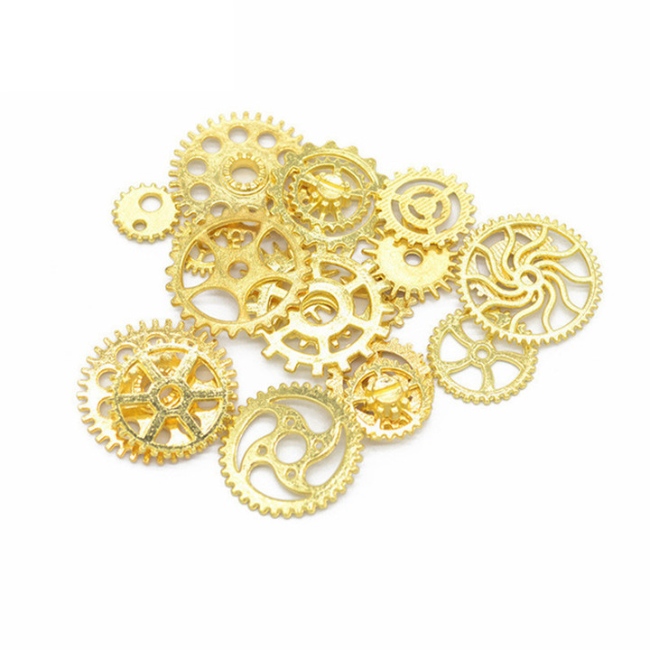 4  50glot Different Size Gears DIY Jewelry Accessories For Necklace Earring Pendant Bracelet Gold Silver Gear Diy Jewelry Making