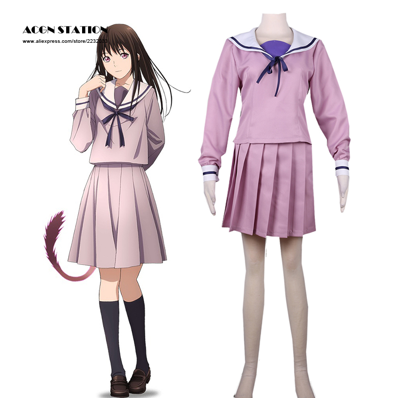 2018 Free Shipping Noragami Hiyori Iki Sailor Uniform Anime Cosplay Costume Customize for plus size adults and kids