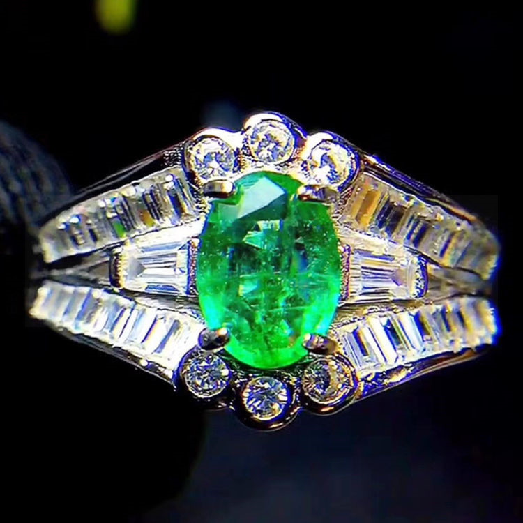 Emerald ring Natural real emerald 925 sterling silver 0.55ct gemstone Women rings Fine jewelry #SL18041304
