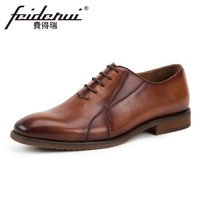 New Vintage Hand Made Genuine Leather Men S Formal Dress Oxfords Round Toe Man Wedding Party