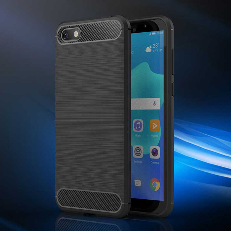 Soft Phone Case For Huawei Y5 Lite 2018 Case TPU Silicone Carbon Fiber Bumper Shockproof Back Cover For Huawei Y5Lite 2018 Case in Fitted Cases from Cellphones Telecommunications