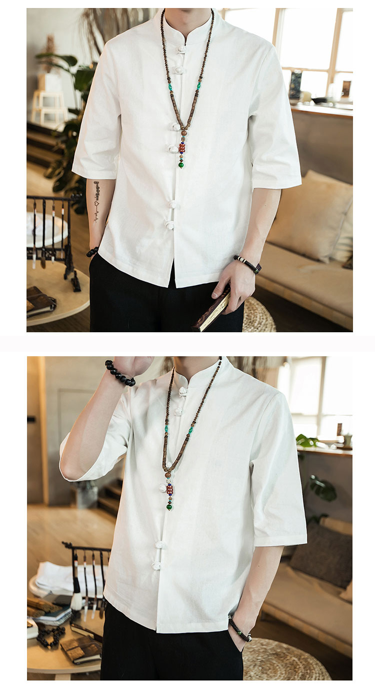 Chinese style summer fashion man's Pure color linen Short sleeve shirt high-grade male comfortable slim fit leisure shirt M-5XL 43