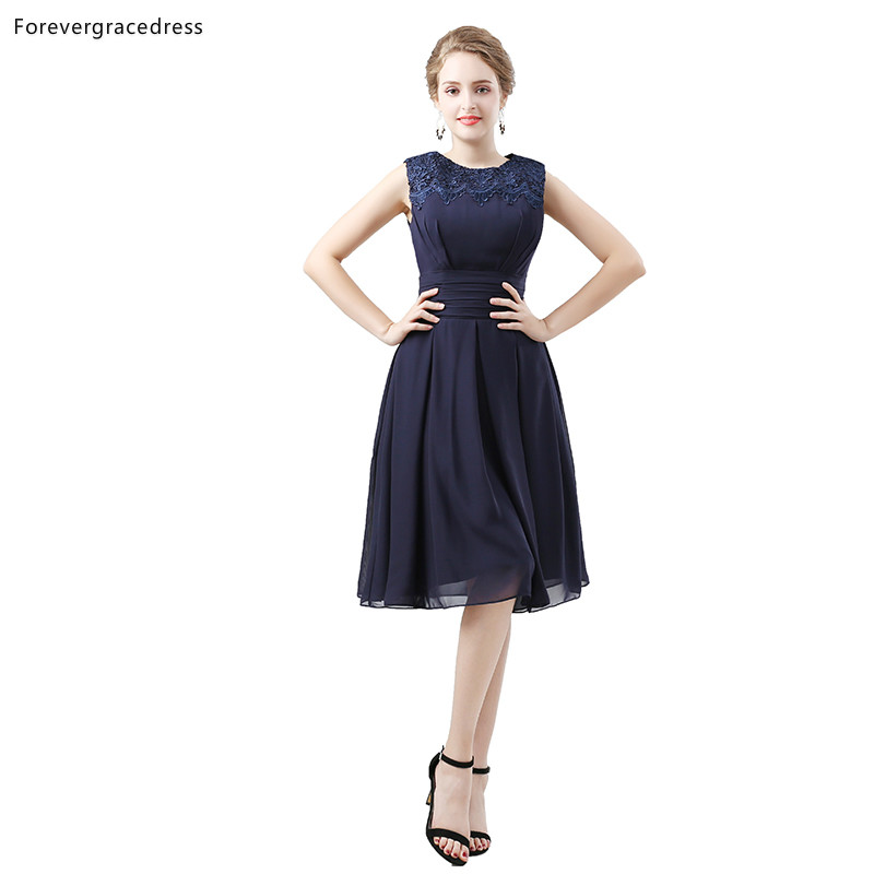 Forevergracedress Navy Blue   Bridesmaid     Dresses   A Line Chiffon Wedding Party Guest Maid of Honor Gowns Plus Size Custom Made