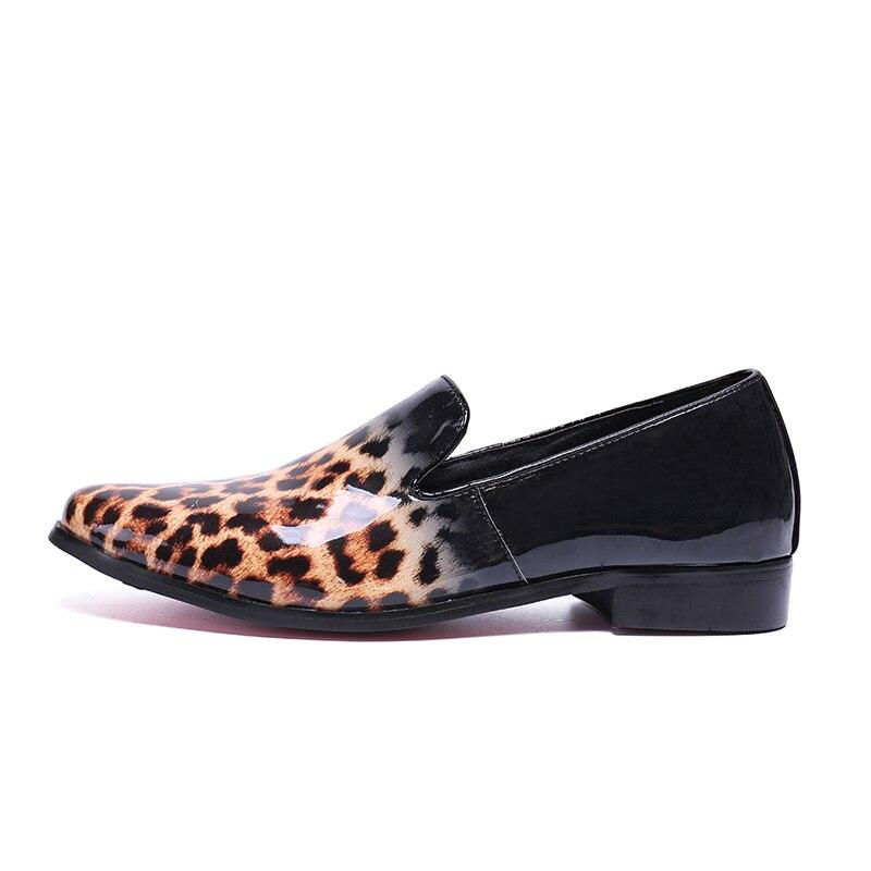 US $72.76 32% OFF|Leopardenmuster Männer Slip On Wohnungen Schwarz Echtes Leder Creepers fahren Schuhe Mann Fashion Mokassin Homme Große Größe 46