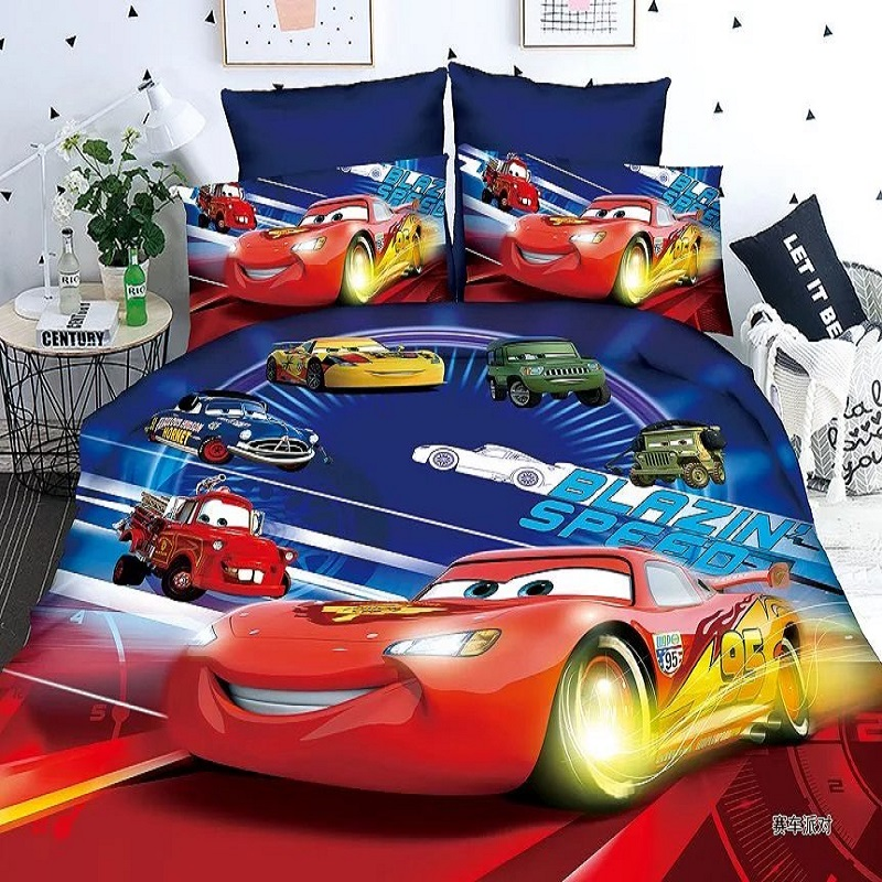 Disney Mc Queen Cars Kids Bedding Set 1.2m Bed Boys Duvet Cover Bed Sheet Pillow Cases Twin Single Size Kids Birthday Gift