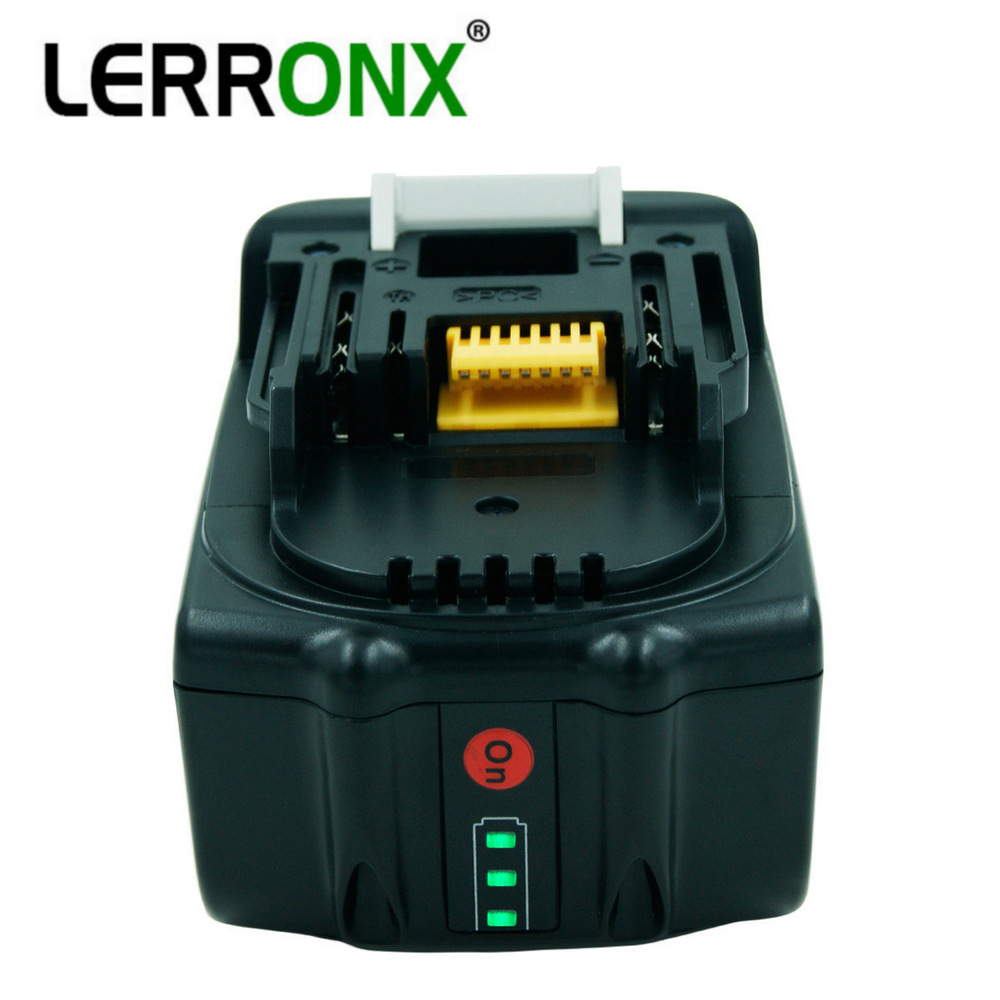 LERRONX LED Light 18V 6000mAh BL1860 Li ion Replacement Rechargeable Battery for Makita Power Tool 194309 1 BL1815 BL1840 LXT400-in Replacement Batteries from Consumer Electronics