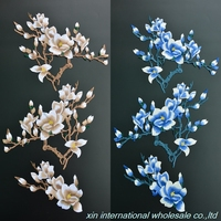 3pcs Set Delicate Water Solubility Magnolia Military Patch A Full Set Of Embroidery Patches High End